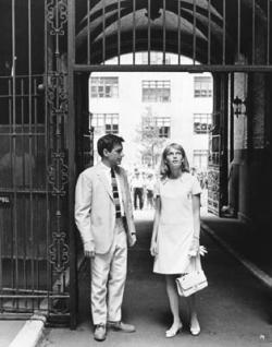 Farrow and Cassavetes at the entrance gate