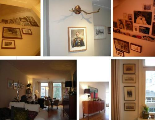 Picture frames in the stairway, vew from sitting room to dining area, liqour cabinet and more picture frames in the kitchen