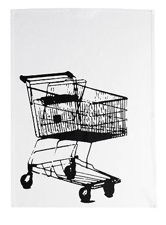 Tea cloth with shopping cart
