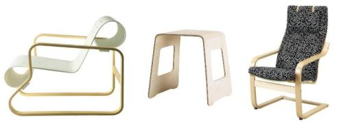 Aalto '41' chair, Ikea's 'Benjamin' stool and Ikea's 'Poang' chair