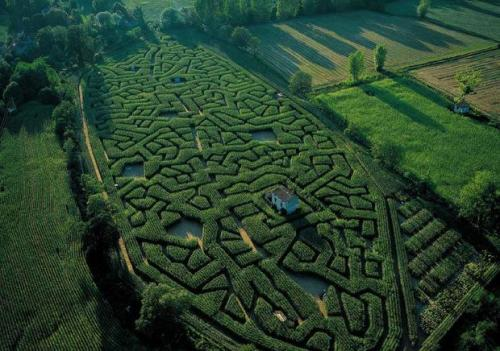 Maze in Cordes sur Ciel, France, with a house hidden inside