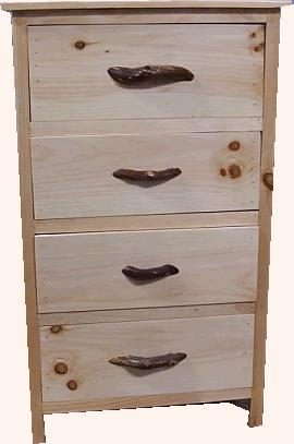 Chest of drawers decorated with twigs a pulls