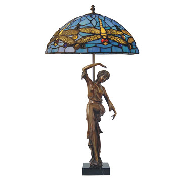 Bronze statuettewith Dragon Fly lamp
